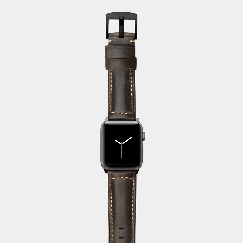 Brown leather band for space grey aluminium Apple Watch Robus Wood