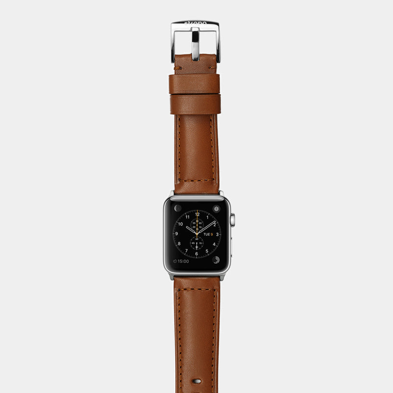 Brown leather band for stainless steel Apple Watch Ingenium Coffee