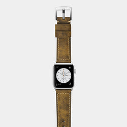 Brown leather band for silver aluminium Apple Watch Confidens Amber