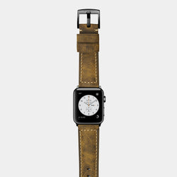 Brown leather band for space black stainless steel Apple Watch Confidens Amber