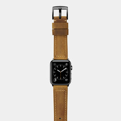 Brown tan leather band for space black stainless steel Apple Watch Confidens