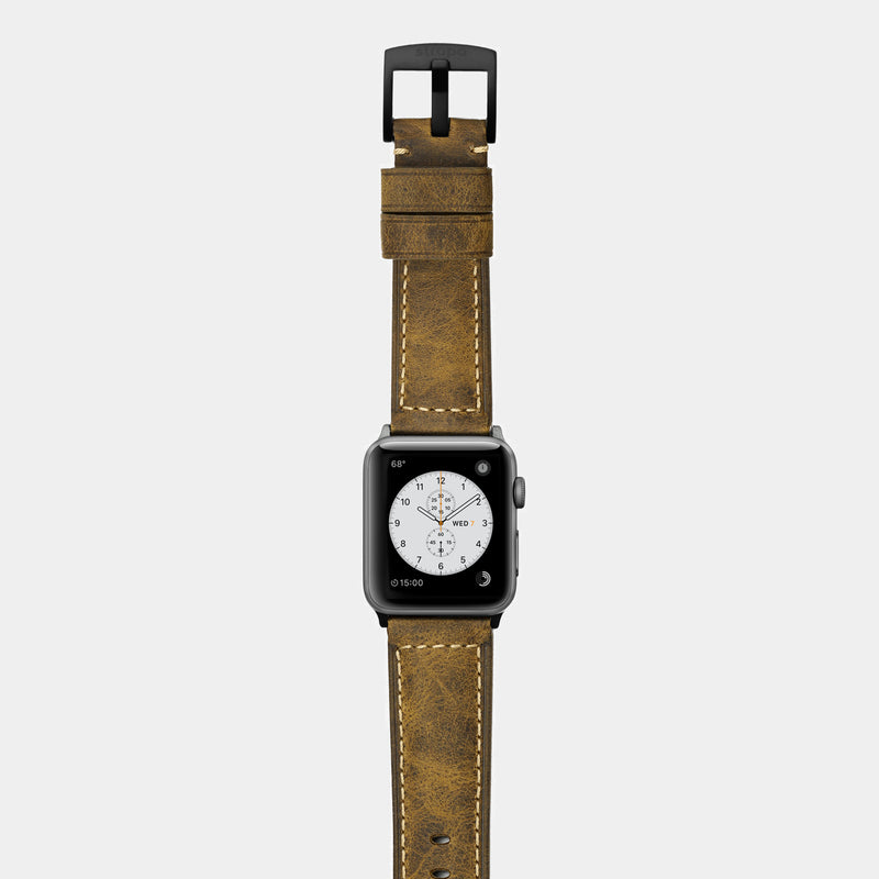 Brown leather band for space grey aluminium Apple Watch Confidens Amber