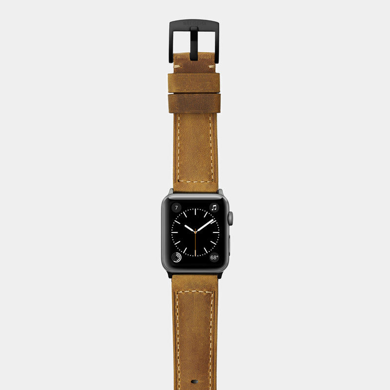 Brown tan leather band for space grey aluminium Apple Watch Confidens