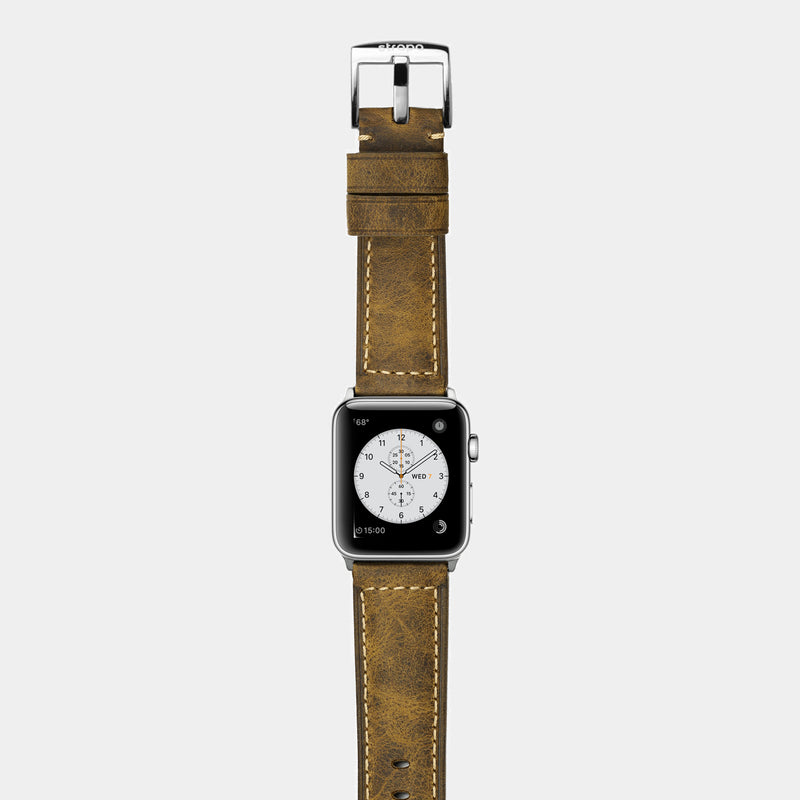Brown leather band for stainless steel Apple Watch Confidens Amber