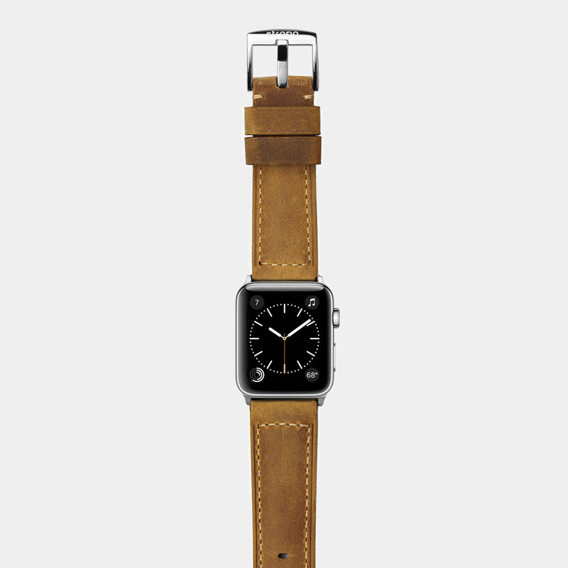 Brown tan leather band for stainless steel Apple Watch Confidens