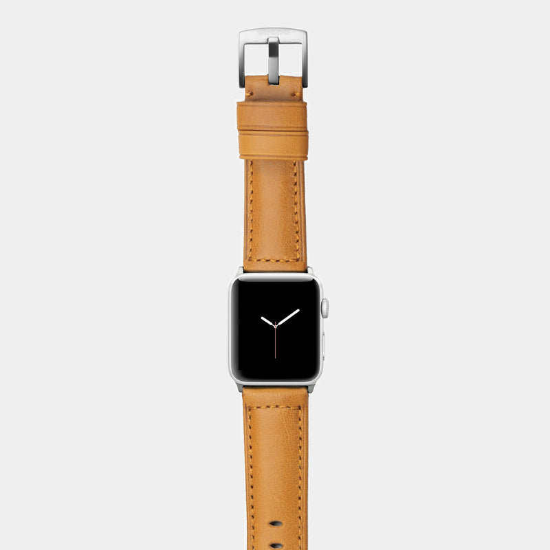 Orange leather band for silver aluminium Apple Watch Ingenium Honey