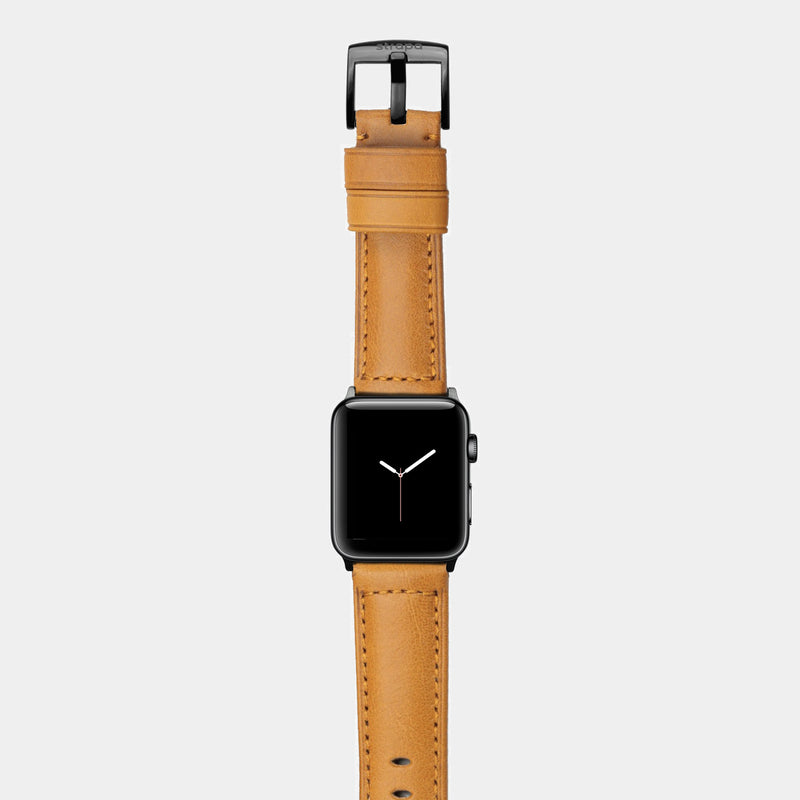 Orange leather band for space black stainless steel Apple Watch Ingenium Honey