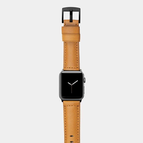 Orange leather band for space grey aluminium Apple Watch Ingenium Honey