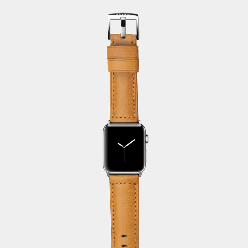 Orange leather band for stainless steel Apple Watch Ingenium Honey