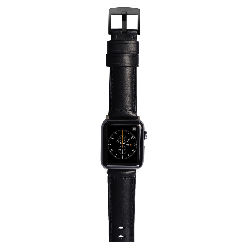 Black leather band for space grey aluminium Apple Watch Robus Diesel