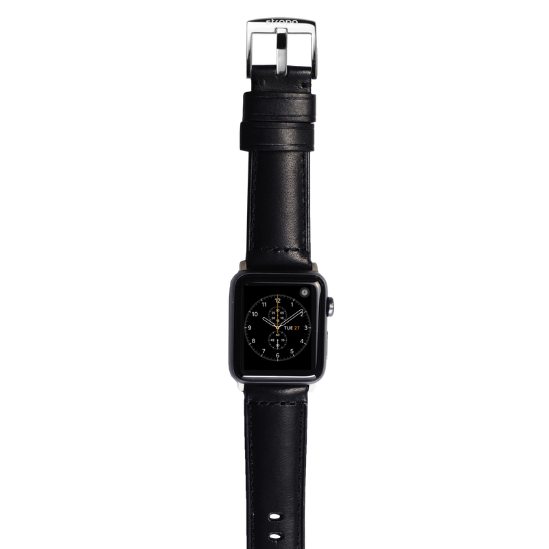 Black leather band for stainless steel Apple Watch Robus Diesel