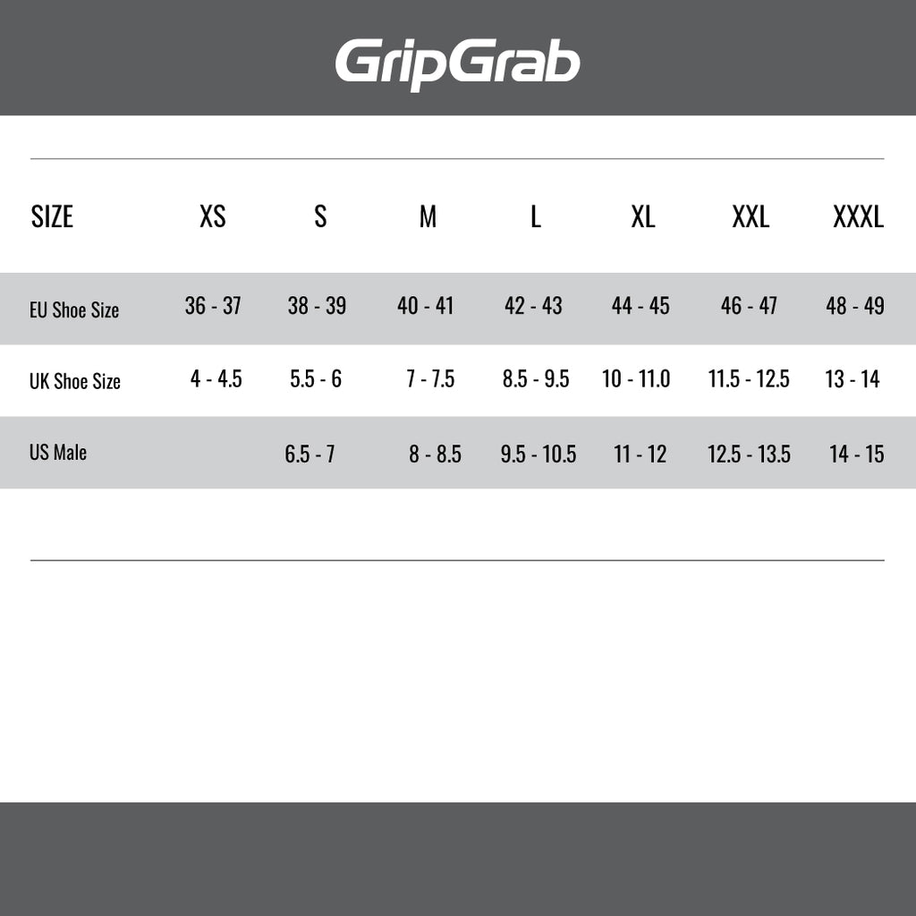 GripGrab Size Guide Shoe Covers XS - XXXL.