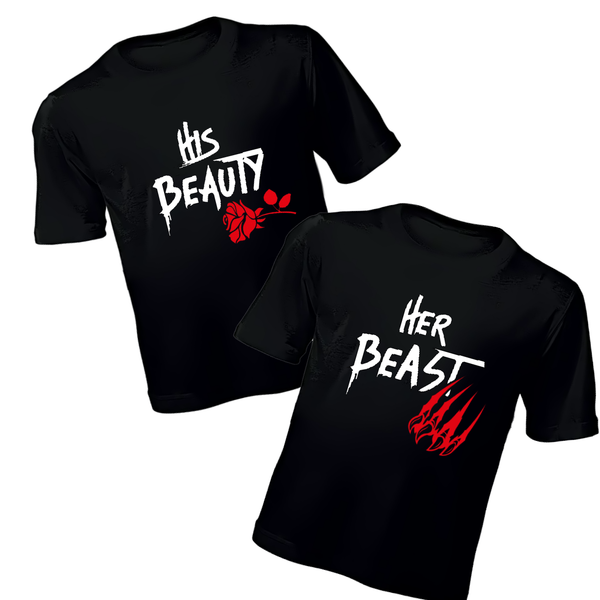 Couples T-Shirt - His Beauty, Her Beast