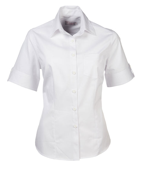 Ladies white brushed cotton short sleeve blouse