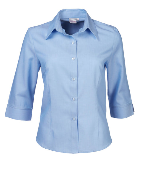 Ladies S/S blouse Oxford blue