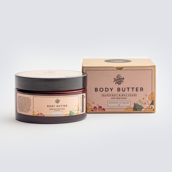 Handmade, Natural, Vegan and Cruelty Free Body Butter. Scented with essential oils from Grapefruit & May Chang. In a glass jar with a Gift Box.