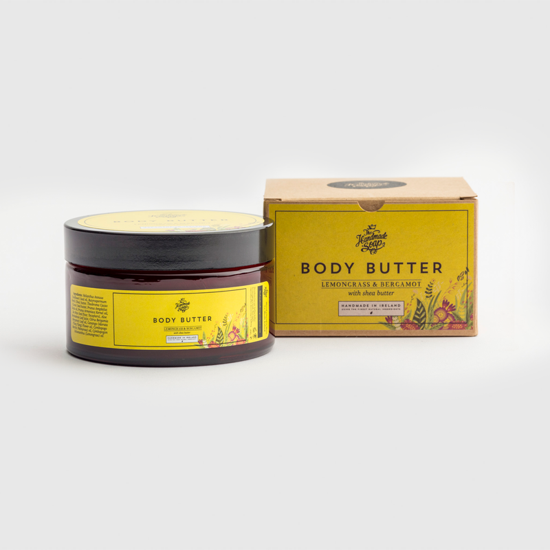 Handmade, Natural, Vegan and Cruelty Free Body Butter with Shea Butter. Scented with essential oils from Lemongrass & Bergamot. In a Gift Box.