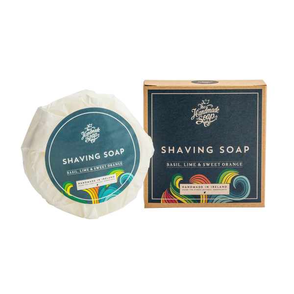 All Natural Handmade For Men Basil, Lime & Sweet Orange Essential Oil Shaving Puck Soap