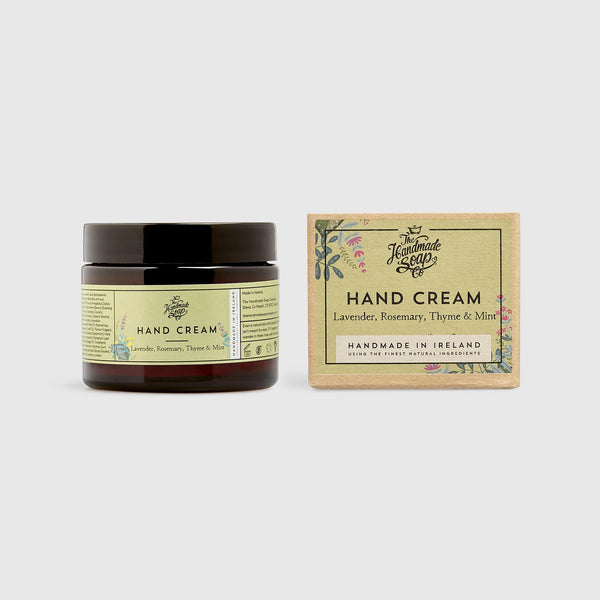 Handmade, Natural, Vegan and Cruelty Free Hand Cream. Scented with essential oils from Lavender, Rosemary, Thyme & Mint. Presented in a glass jar and Gift Box.