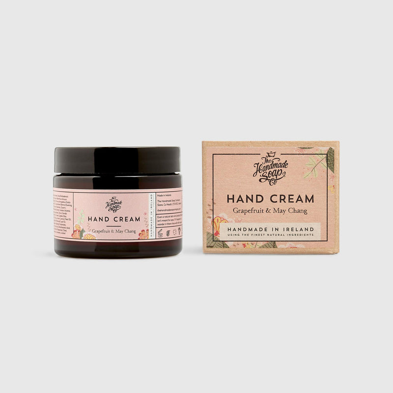 Handmade, Luxury, Natural, Vegan and Cruelty Free Hand Cream. Scented with essential oils from Grapefruit & May Chang. In a Glass Jar and Gift Box.