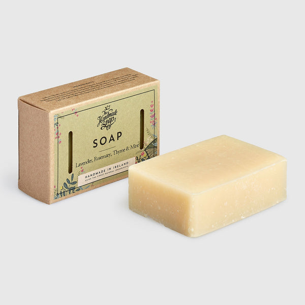 Handmade, Natural, Vegan and Cruelty Free Soap Bar. Scented with essential oils from Lavender, Rosemary, Thyme & Mint. Presented in a recycled Gift Box.