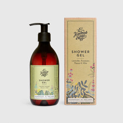 Handmade, Natural, Vegan and Cruelty Free Shower Gel. Scented with essential oils from Lavender, Rosemary, Thyme & Mint. Bottled in 100% recycled materials & presented in a Gift Box.