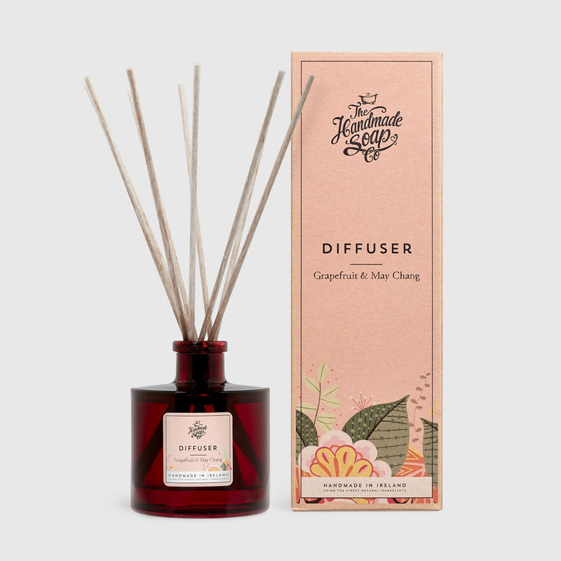 Handmade, Natural, Vegan and Cruelty Free Reed Diffuser. Scented with essential oils from Grapefruit & May Chang. Presented in an apothecary glass jar and a Gift Box.
