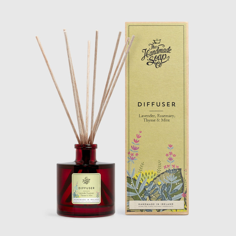 Handmade, Natural, Vegan and Cruelty Free Essential Oil Reed Diffuser. Scented with essential oils from Lavender, Rosemary, Thyme & Mint. Bottled in glass jar and presented in a Gift Box.