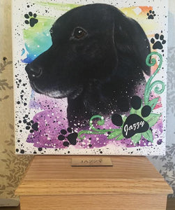Painted Paw Print Name Special brushstroke  10 x 10 inches canvas