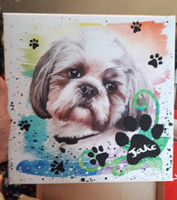 Load image into Gallery viewer, Painted Paw Print Name Special brushstroke  10 x 10 inches canvas