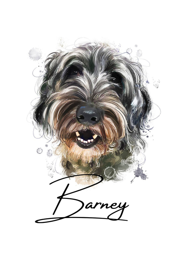 Colour digital pet portrait