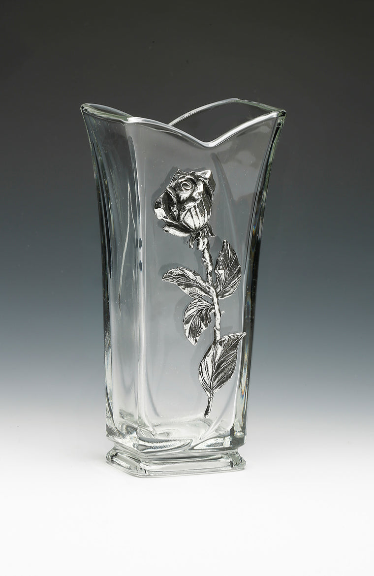 Mullingar Pewter Rose Glass Vase 9""