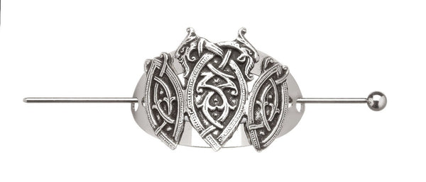 THREE SHEILDS OF CELTIC DESIGN COME TOGETHER TO MAKE THIS SYLISH HAIR PIN.