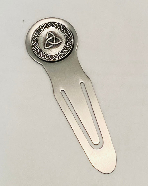 BOOKMARK TRINITY MADE OF STAINLESS WITH PEWTER/SILVER DECORATION METAL IRELAND