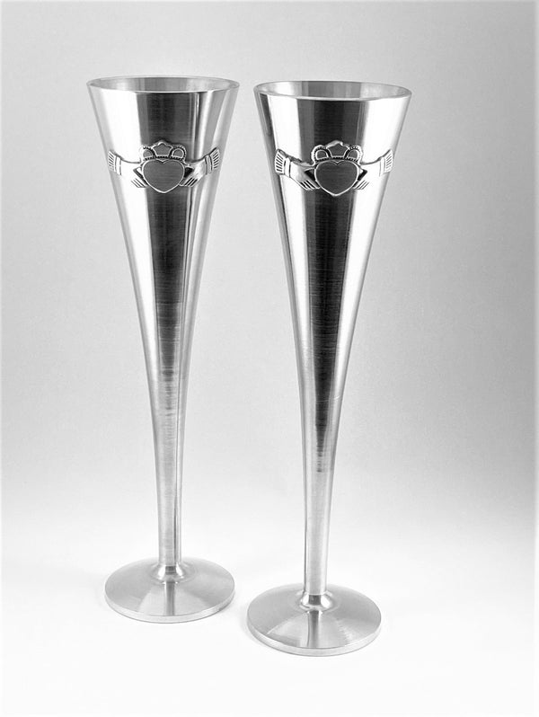 CLADDAGH WEDDING FLUTES 10 INCH TALL