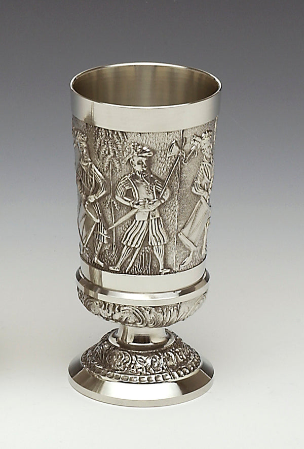 7 INCH GOBLET WITH THE FIGHTING IRISH O'NEILLS AND O'DONNELLS DEPICTED ON THE SIDE OF THE GOBLET