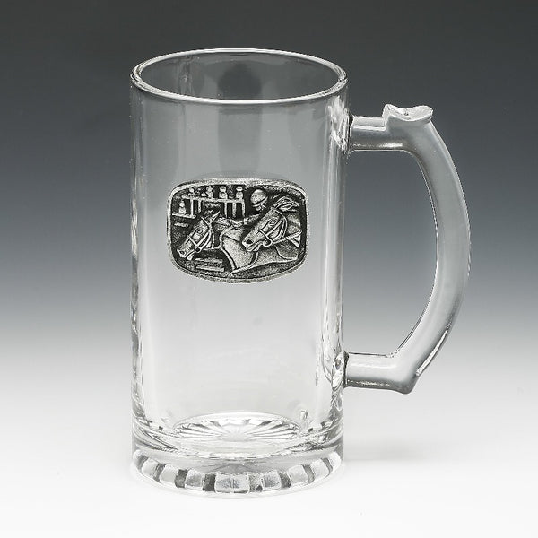 GLASS TANKARD WITH PEWTER EMBLEM.