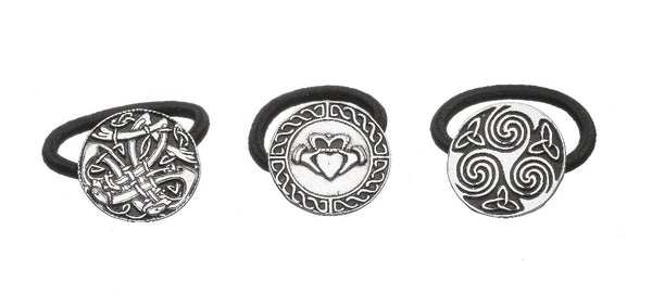 CELTIC, CLADDAGH AND SPIRAL DESIGNED BOBBLES. PEWTER METAL IN SILVER FINISH .IRELAND ÉTAIN ZINN PELTRO