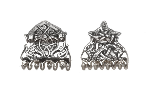 CELTIC HAIR CLASPS MADE OF SILVERPOLISHED PEWTER METAL. ÉTAIN HARTZINN PELTRO