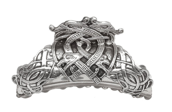 CELTIC DRAGON HAIR CLASP MADE OF SILVER FINISHED PEWTER METAL. ÉTAIN PELTRO HARTZINN
