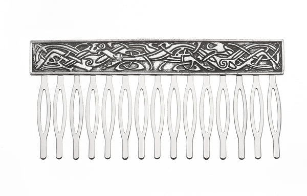 CELTIC HAIR COMB MADE OF PEWTERE METAL WITH SILVER FINISH. ÉTAIN PELTRO HARTZINN