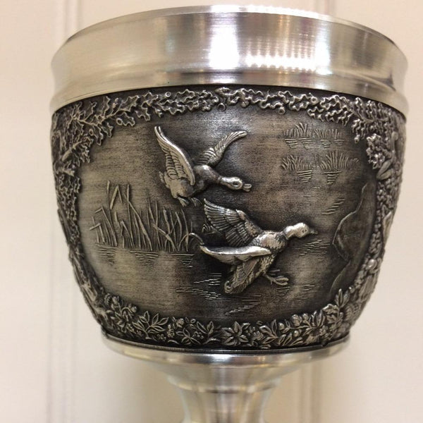 Pewter Goblet with Woodlands Design (price inc's worldwide shipping by post)