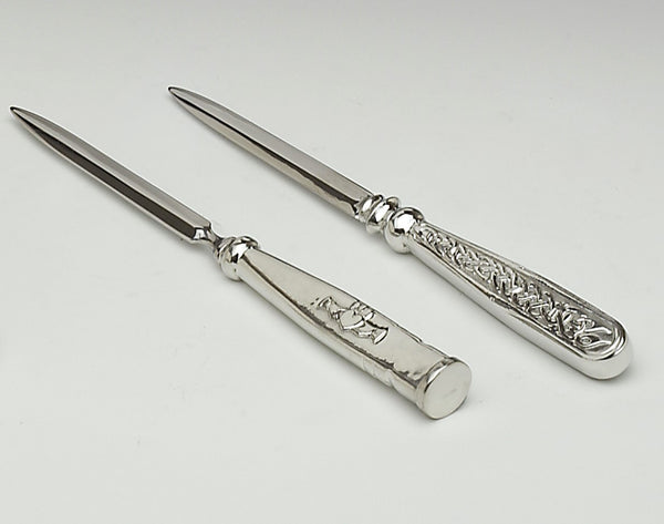 LETTER OPENERS IN CELTIC DESIGN AND CLADDAGH DESIGN. GREAT FOR GIFT GIVING. LOVELY TO USE AS THEY FIT SO WELL IN THE HAND. WEIGHTY AND PLEASING TO USE. PEWTER ZINN ÉTAIN PELTRO