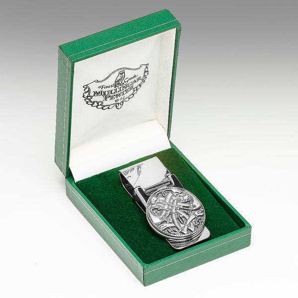 MONEY CLIP WITH IRISH EMBLEM IN PEWTER