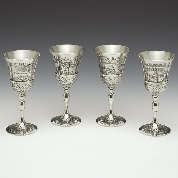 Set of 4 Mythical Irish Goblets. PRICE INCLUDES SHIPPING.
