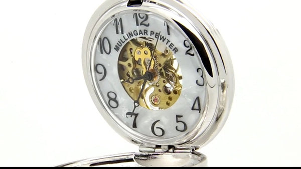 GENTS MECHANICAL POCKET WATCHFOR MANINYOURLIFE PEWTER SILVER