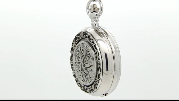 GENTS MECHANICAL POCKET WATCH CELTIC PEWTER METAL SILVER