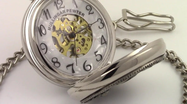 GENTS MECHANICAL POCKET WATCH TIME PIECE, TIMELY , PEWTER SILVER