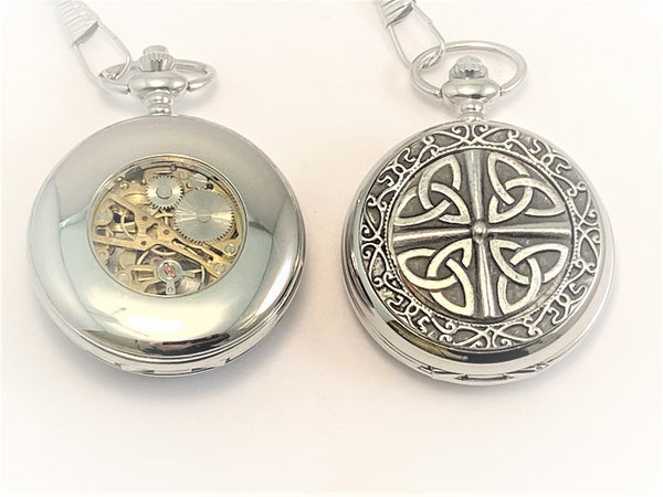 GENTS MECHANICAL POCKET WATCH PEWTER CELTIC MANS GIFT WEDDING GROOM GIFTSFORHIM