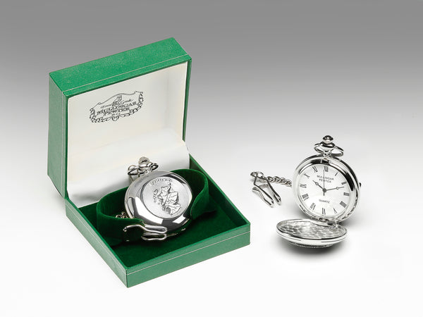 GENTS QUARTZ POCKET WATCH PEWTER SILVER METAL TIMEPIECE ÉTAIN HARTZINN PELTRO